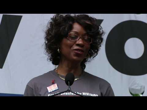 Dr. Marjorie Hill, CEO of GMHC, speaks to thousands at AIDS Walk New York 2009