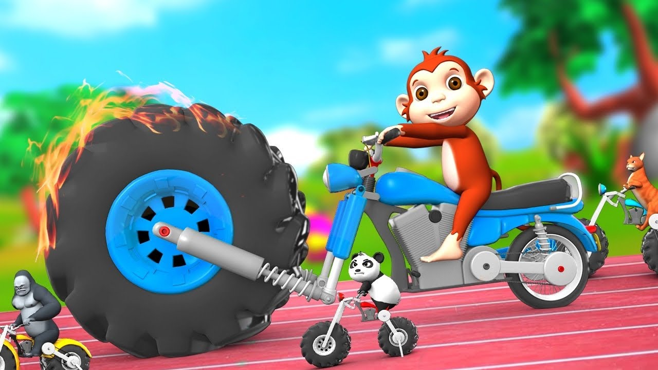 Funny Monkey Giant Tyre Bike Race in Forest | 3D Funny Animals Comedy Videos | Animals Bike Race