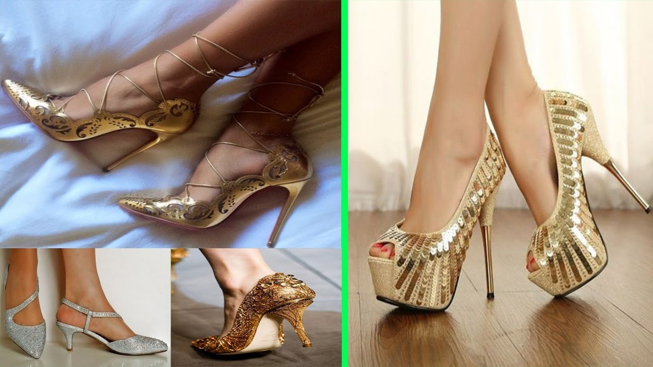 quality quality design 100% high quality Gold Heels Shoes for Women and Girls   Latest Stylish Sandals 2017 ...