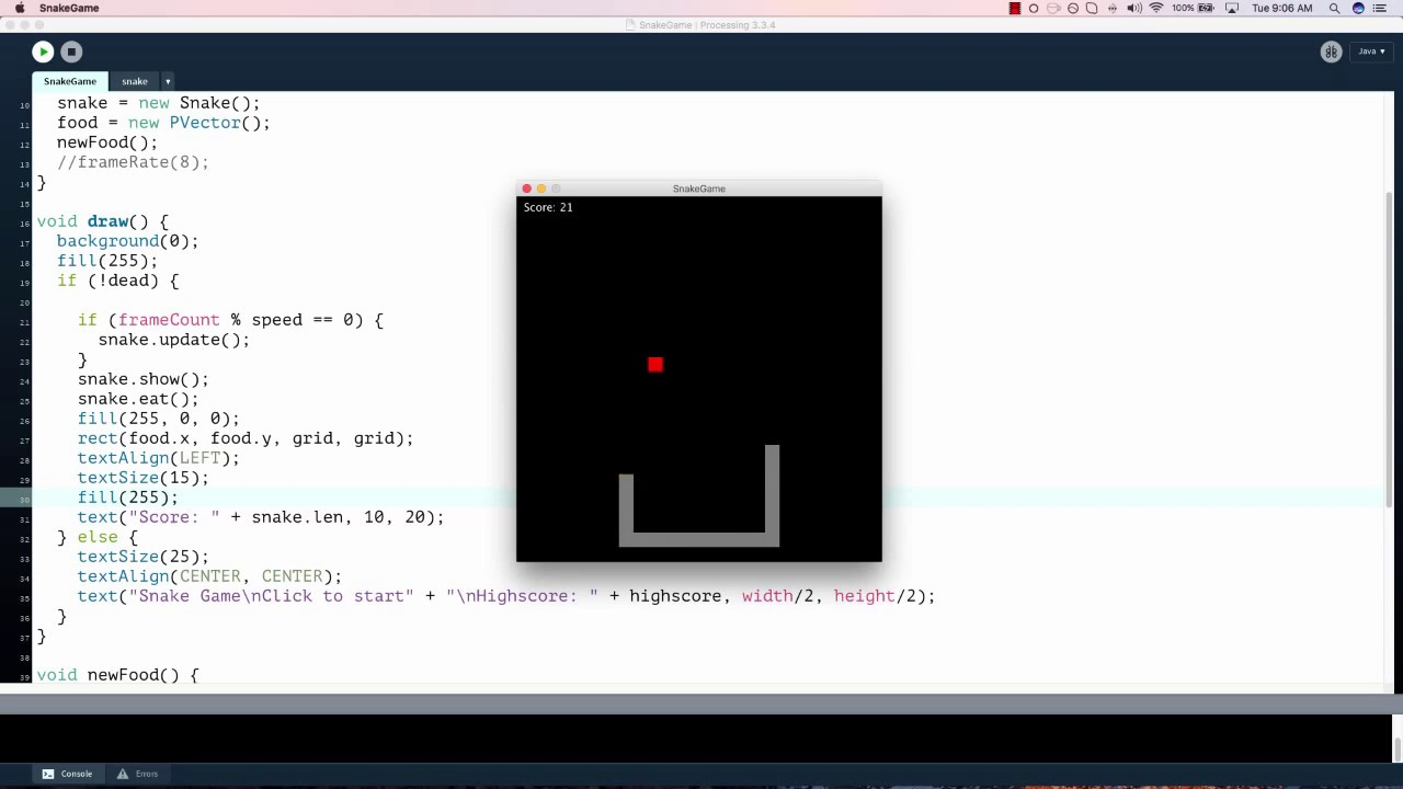 Speed coding Snake Game in Processing