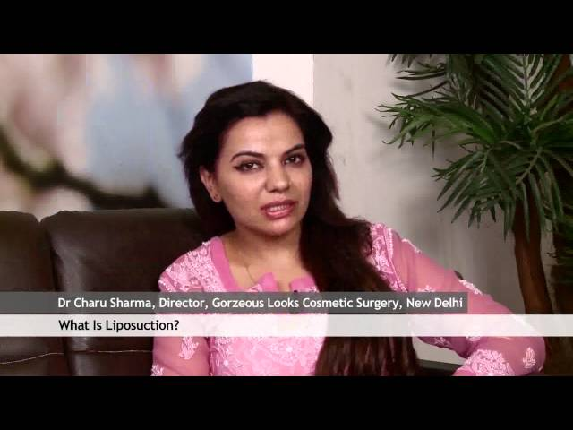 Dr Charu Sharma cosmetic surgeon is explaining liposuction.