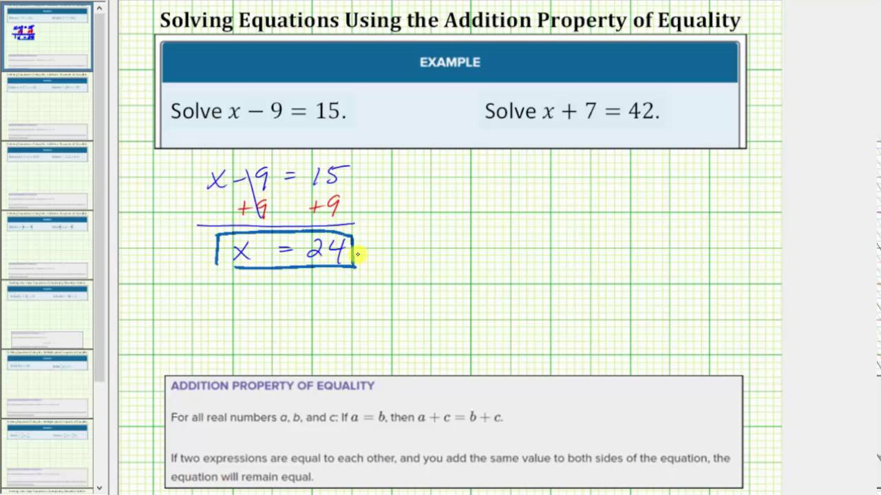 Solve One Step Equations Using Addition And Subtraction Whole