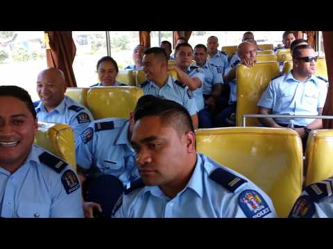NZ Police Samoan Contingent 1st day bus from airport - UN SIDS SAMOA Conference 2014