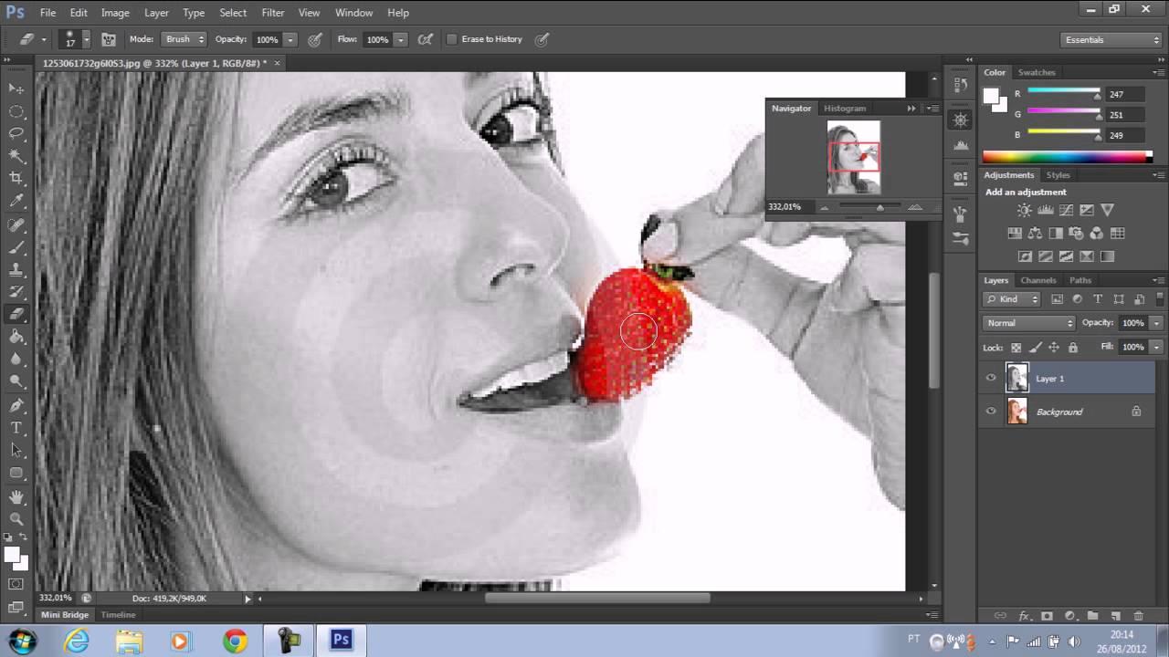 Photoshop cs6 efeito branco e preto em detalhes coloridos  YouTube