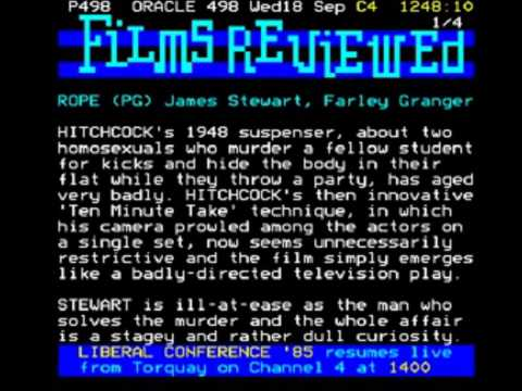 Channel 4 Conference Outro into ORACLE Teletext Junction (18th September 1985) Part 1