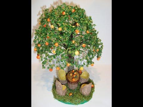 Дерево из бисера яблоня в цвету