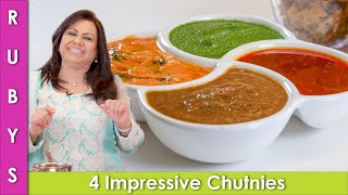Chutnies 4 Different Kinds for Pakoras & Samosas Iftari Idea Ramadan Recipe in Urdu Hindi - RKK