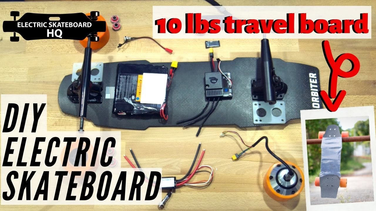 DIY Electric Skateboard- Building a portable (10lbs!) shortboard [You will love the ending scene.]