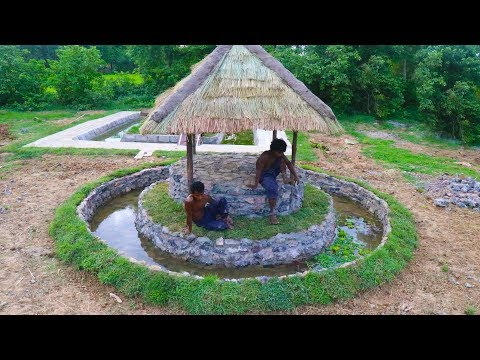 Build Hut in Stone Fish Pond