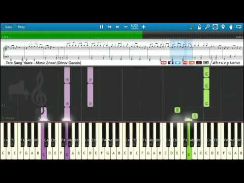 ♫ Tere Sang Yaara (Rustom) || Piano Tutorial + Music Sheet + MIDI With Lyrics