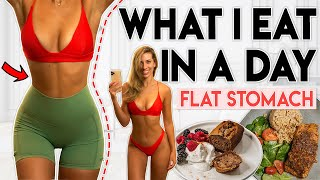 WHAT I EAT IN A DAY for a FLAT STOMACH | Food for Workout Challenges