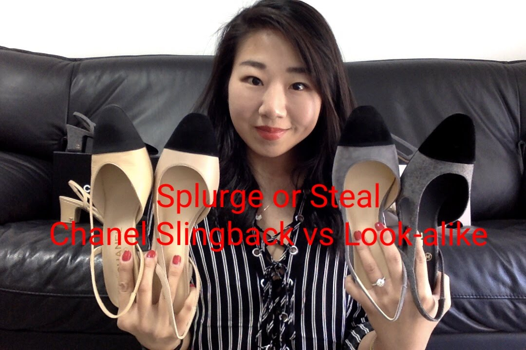 92ac13c2096 Splurge or Steal Chanel Two Tone Slingback vs Lookalike - YouTube