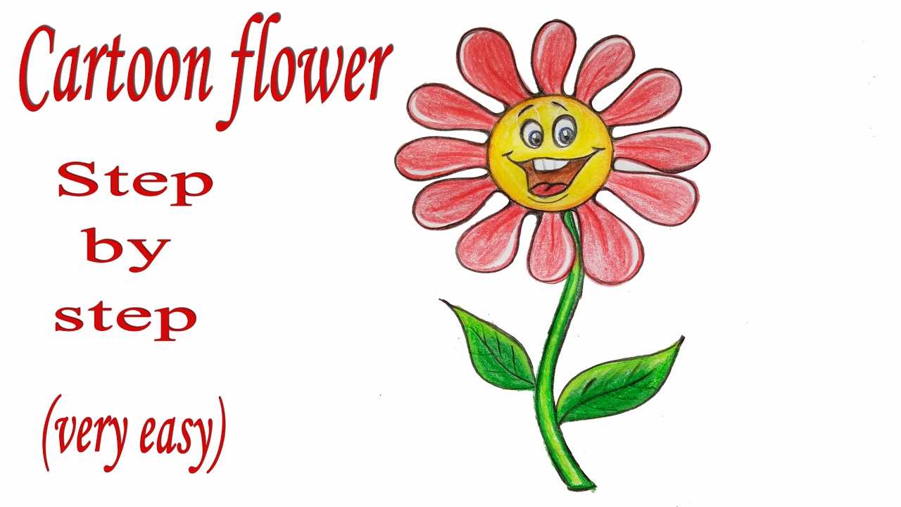 How To Draw Cartoon Flower Step By Step Very Easy Art Video Youtube