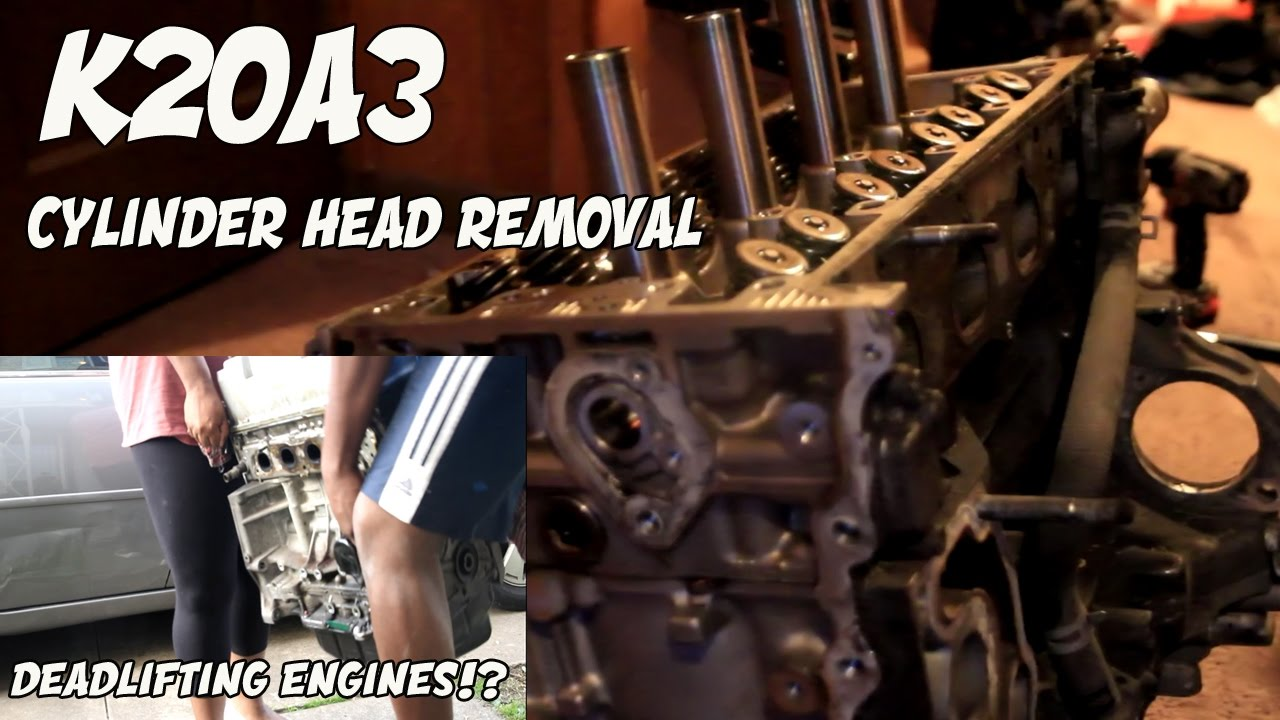 K20A3 CYLINDER HEAD REMOVAL | DEADLIFITNG AN ENGINE