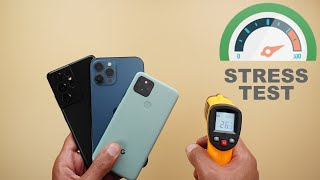Stress Test - S21 Ultra vs 12 Pro Max vs Pixel 5 - Speed, Battery & Thermal Management Comparison