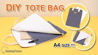 DIY ZIPPER TOTE BAG | A4 Size Document Bag Tutorial [sewingtimes]