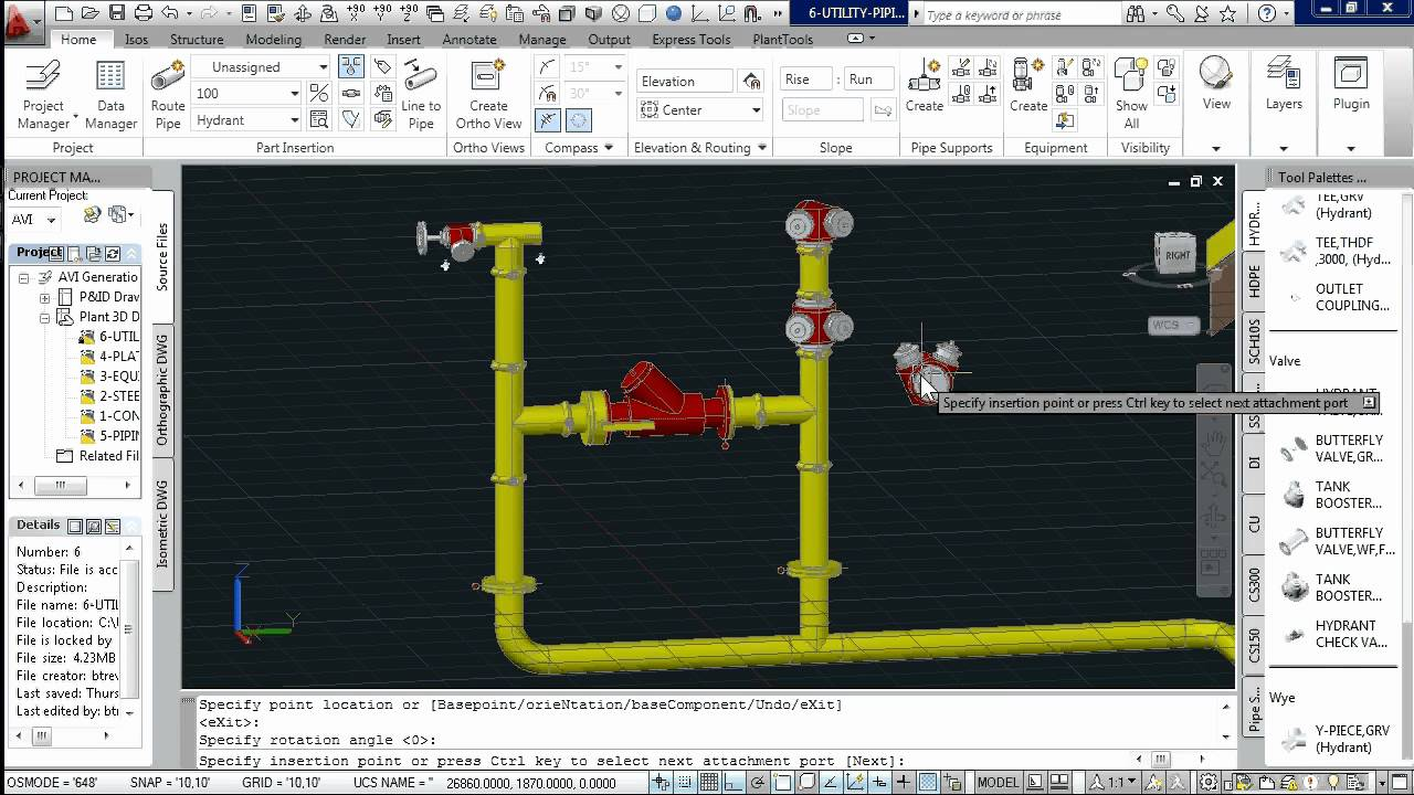 Autocad Plant 3d Victaulic Fire Hydrant Piping Modelling