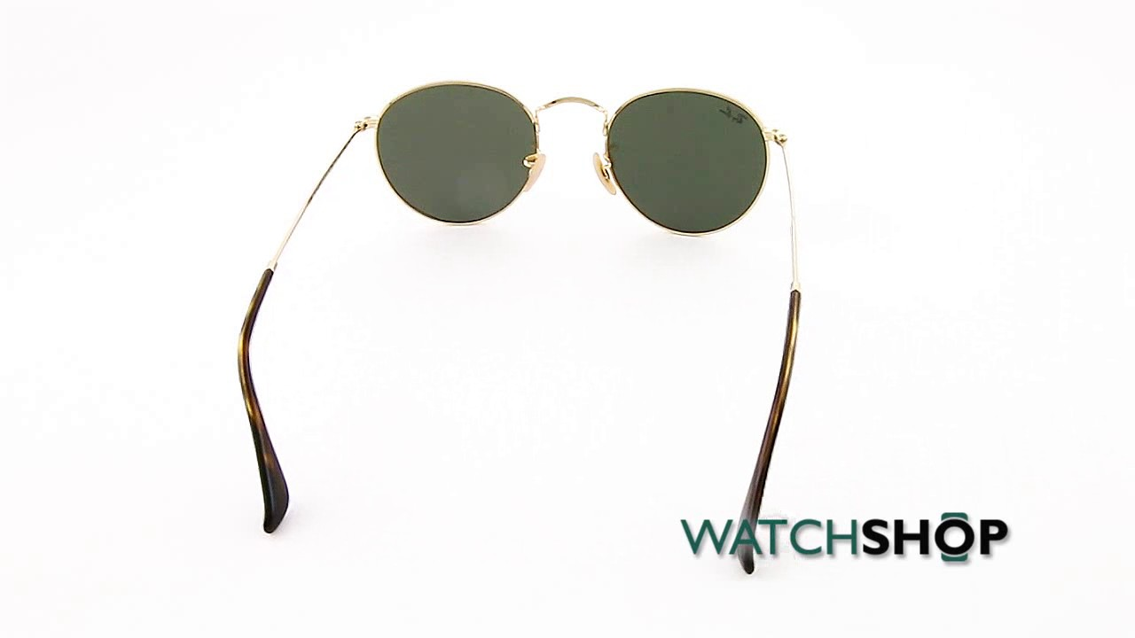 bf6b02cc48 Ray-Ban Men s Round Flat Lens Sunglasses (RB3447N-001 30-50) - YouTube