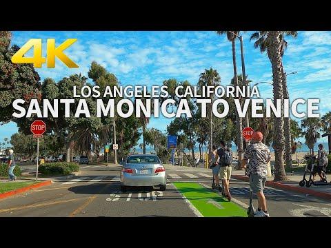 Driving Santa Monica To Ocean Park To Venice Beach, Los Angeles, California, USA, 4K UHD