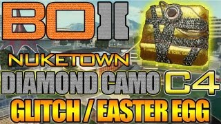 "BO2 - ""Diamond Camo C4 Glitch / Easter Egg on Nuketown"" Black Ops 2 Secrets (Unlock Tutorial Inside)"