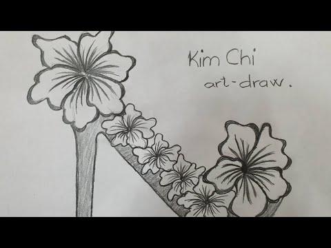 Cách Vẽ Hình Chiếc Giày Hoa Dâm Bụt bằng bút chì – How to Draw a Shoe with pencil l Kim Chi Art&Draw