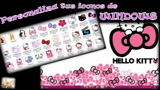 Personalizar iconos en Windows || Cambiar iconos Hello Kitty || Customize Icons in Windows Thumbnail