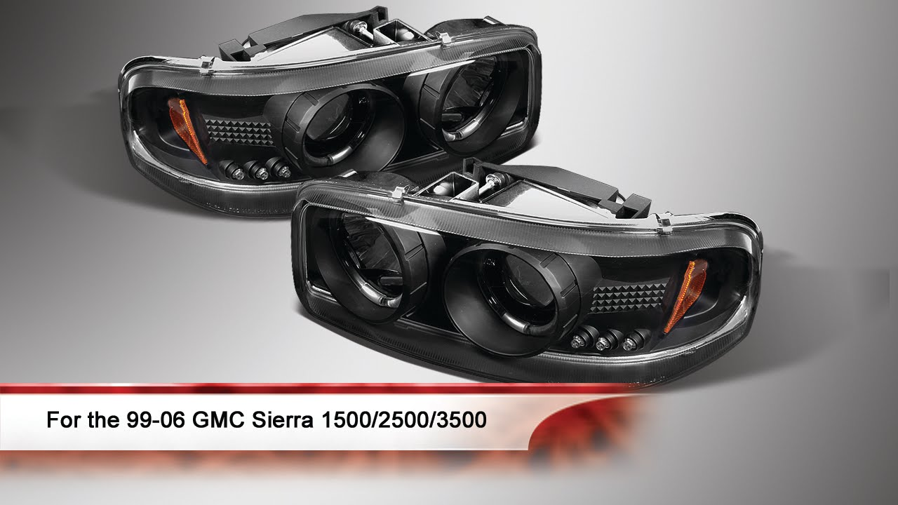 99 06 gmc sierra 1500 2500 3500 led halo projector headlights youtube