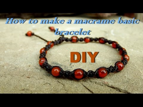 How to make basic macrame spiral bracelet knot with stone beads