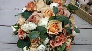 Цветочная композиция из искусственных роз и камелий 🧡✨ Мастерская Альфии 🌺