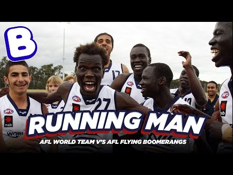 AFL World Team vs AFL Flying Boomerangs in the Running Man Challenge