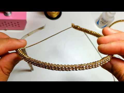 DIY Encapando tiara com strass super facíl  - Tiara de Strass Puro Luxo