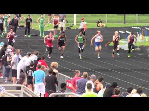 Cameron Tindall 100m at WIAA Janesville Sectional 5/29/2015