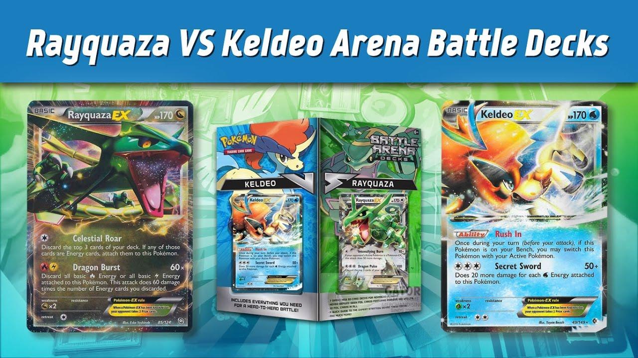 Rayquaza VS Keldeo Arena Battle Deck Match - YouTube