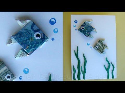 Geldschein Falten Fisch Zum Geldgeschenke Basteln Origami Youtube