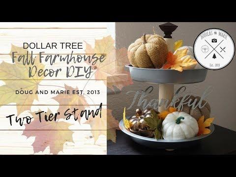 FARMHOUSE DECOR DIY: DOLLAR TREE FALL 2 TIER TRAY [Doug&Marie At Home]