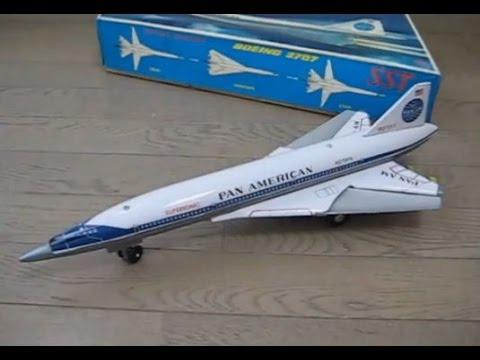 ダイヤ玩具、電動走行  ブリキ製  ボーイング2707 SST Pan Am Boeing 2707 tin toy