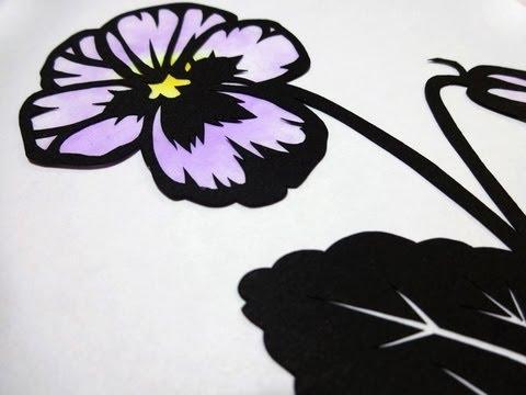 Paper Cutting 切り絵の作り方花の切り絵編 Youtube