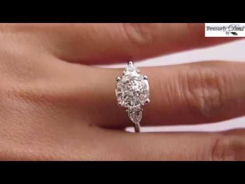 Colorless 3.03ct Vintage CUSHION Cut Diamond 3 Stone ENGAGEMENT Wedding Platinum RING by Birks