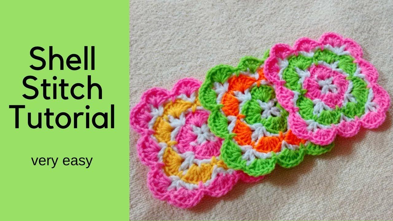 Crochet Shell Stitch | Coaster | Square Shape - YouTube