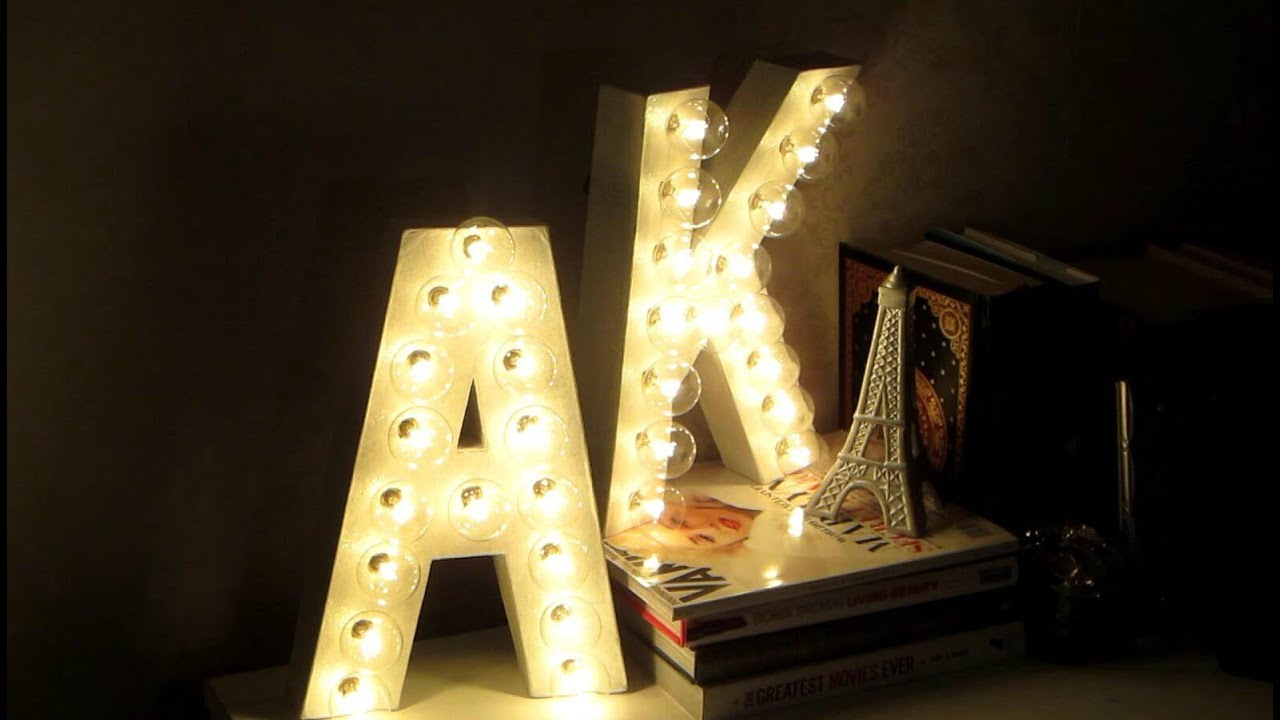 DIY Room Decor! Letter Marquee Lights! - YouTube