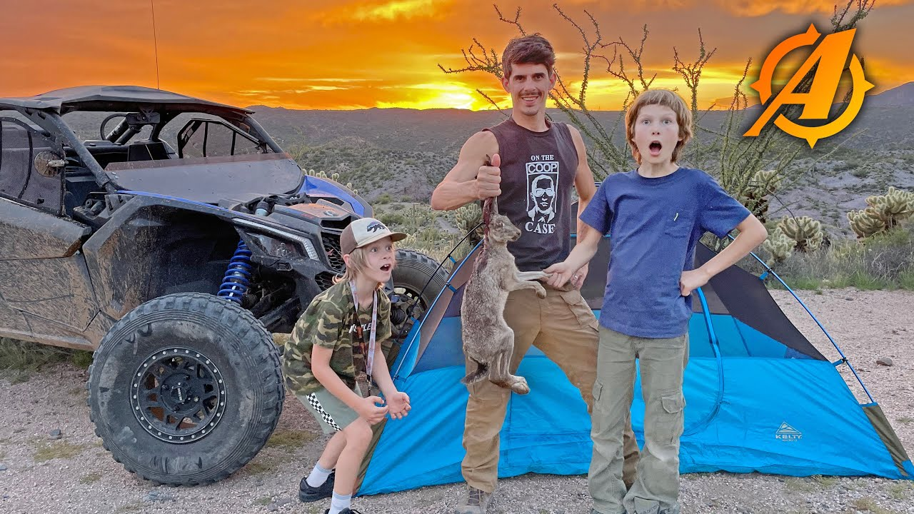 Overland Camping with ATV'S in the Desert at Abandoned Mine + Jackrabbit Catch and Cook