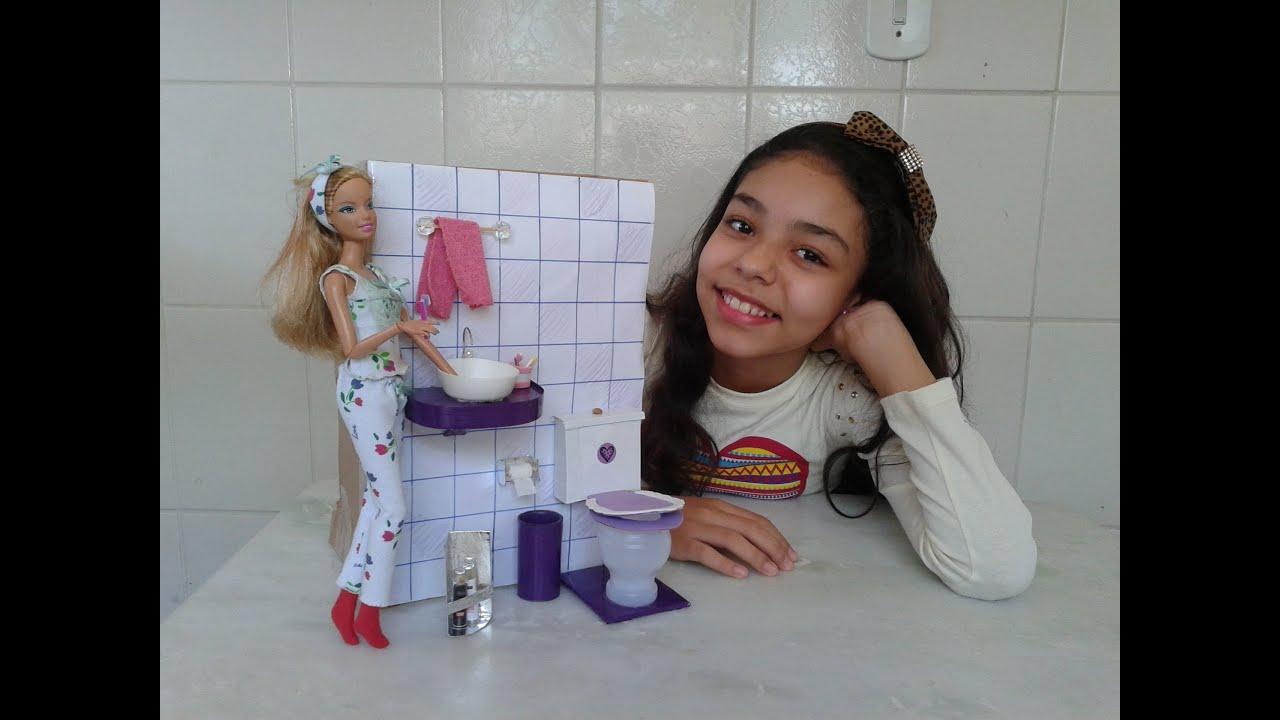 Como fazer banheiro para casa da barbie   #703F37 2560x1920 Banheiro Da Barbie De Papelão