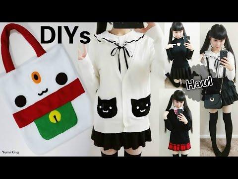 55492ba6b7 Cute DIYs for Cat Lovers  DIY Lucky Cat Tote Bag + DIY Cat Pockets Sweater  + School Outfits