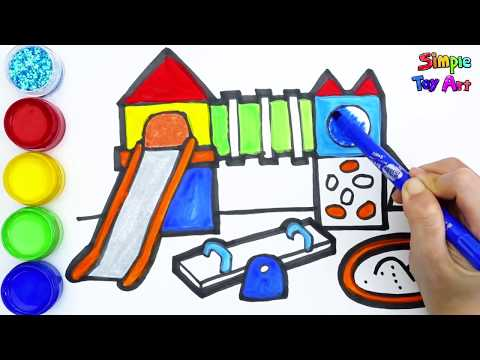 Glitter PlayGround Coloring And Drawing Learn Colors For Kids | Simple Toy Art