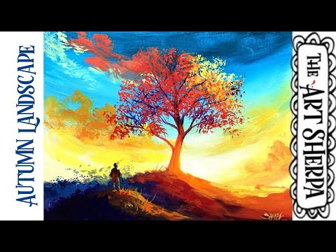 Easy Autumn Sunset  Landscape with fall  tree Acrylic painting tutorial step by step thumbnail