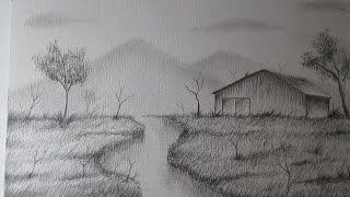 Cómo dibujar un sencillo paisaje a lápiz paso a paso, BIEN EXPLICADO thumbnail