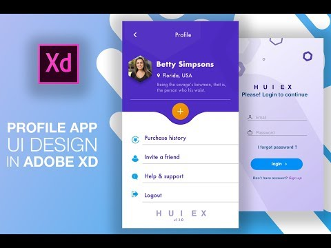 Profile And Login App UI Design Adobe XD - Speed Art Tutorial