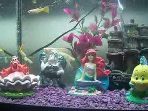 Disney the little mermaid aquarium youtube for Mermaid fish tank