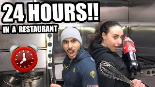 OVERNIGHT IN A RESTAURANT!! ⏰😨 24 HOUR CHALLENGE (GONE WRONG)
