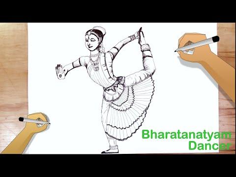 Draw A Bharatanatyam Dancer Youtube
